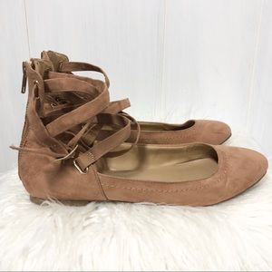 Aldo Ankle Wrap Leather Ballet Flats Size 8.5